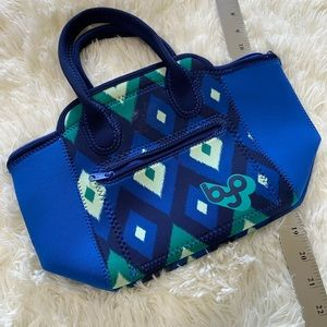 ADELA Blue Ikat Top Handle Lunch Tote